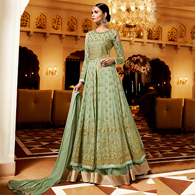 Flamboyant Green Designer Embroidered Georgette Anarkali Lehenga Suit