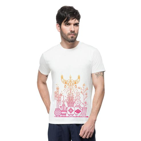 THREADCURRY - White Colored Sprout in Drought   Psychedelic Geomteric Pattern Cotton Printed Creative T-shirt for Men
