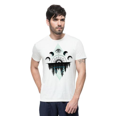 THREADCURRY - White Colored A Secret Forest   Outdoor Adventure Psychedelic Geomteric Pattern Cotton Printed Creative T-shirt for Men