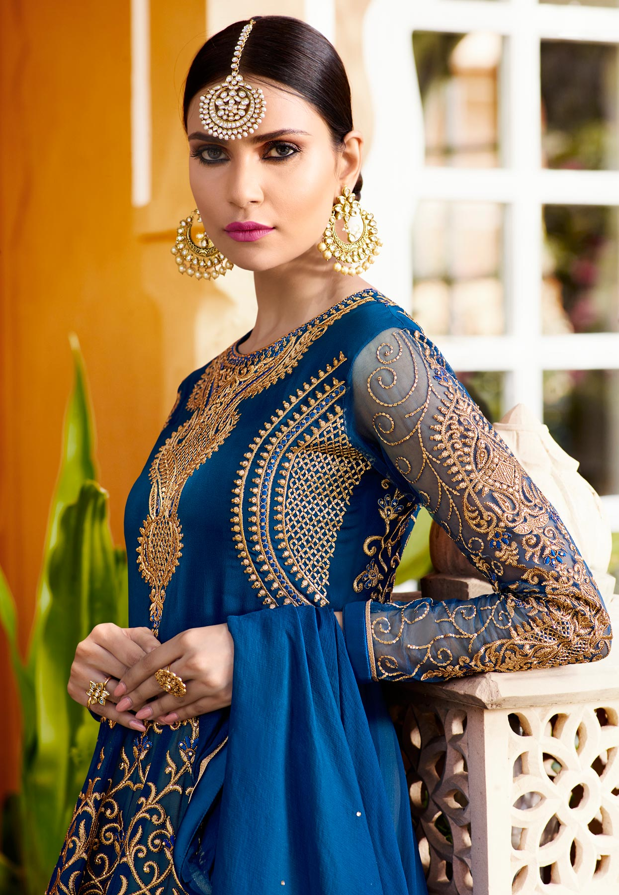 Sizzling Royal Blue Designer Embroidered Georgette Anarkali Lehenga Suit