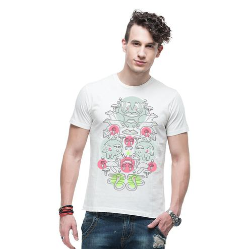 THREADCURRY - White Colored Mushy Mushrooms   Psychedelic Music Party Pattern Geomteric Cotton Printed Creative T-shirt for Men