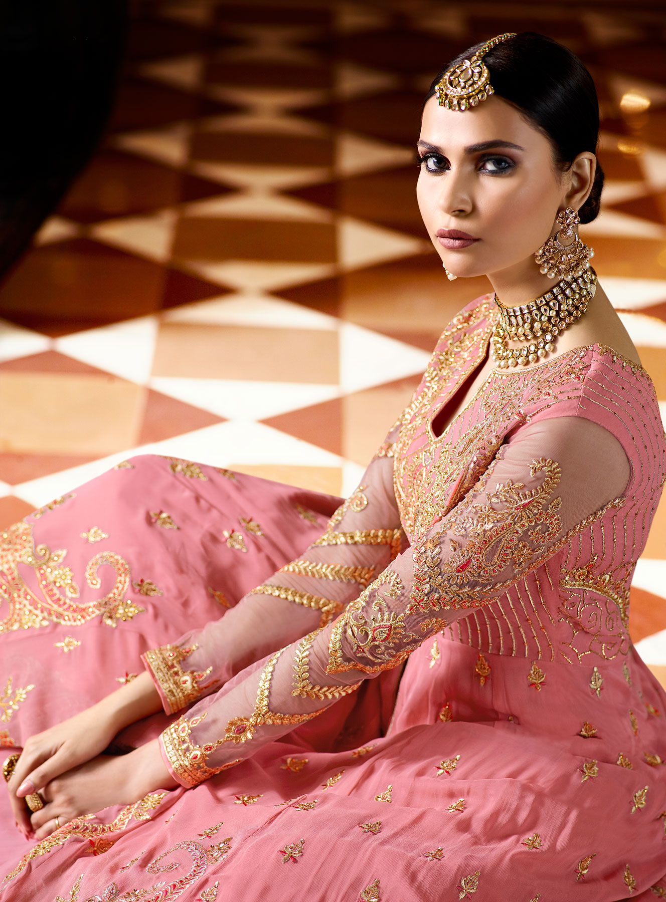 Marvellous Pink Designer Embroidered Georgette Anarkali Lehenga Suit