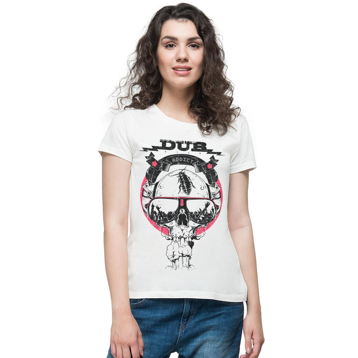 THREADCURRY - White Colored Dub Addict | DJ Music Party Cool Dubstep Dubsmash Cotton Printed Creative T-shirt for Women