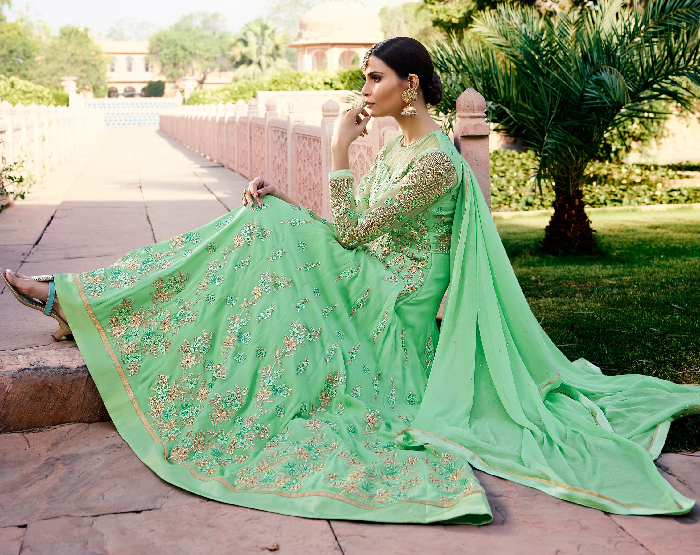 Eye-Catchy Green Designer Embroidered Georgette Anarkali Suit