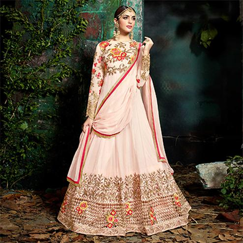 Remarkable Pink Pure Georgette Designer Anarkali Suit