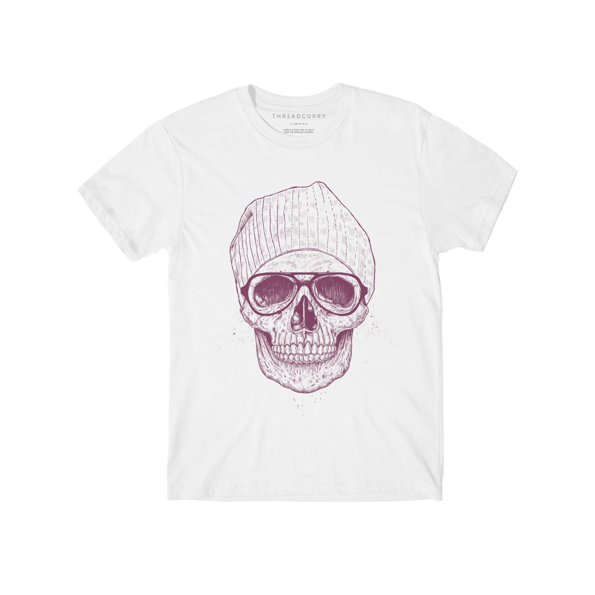 THREADCURRY - White Colored Hipster Skull   Hip Retro Funny Punk Graphic Printed T-shirt for Boys