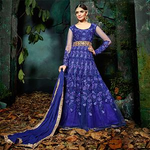 Stylish Royal Blue Five Star Net Designer Anarkali Suit