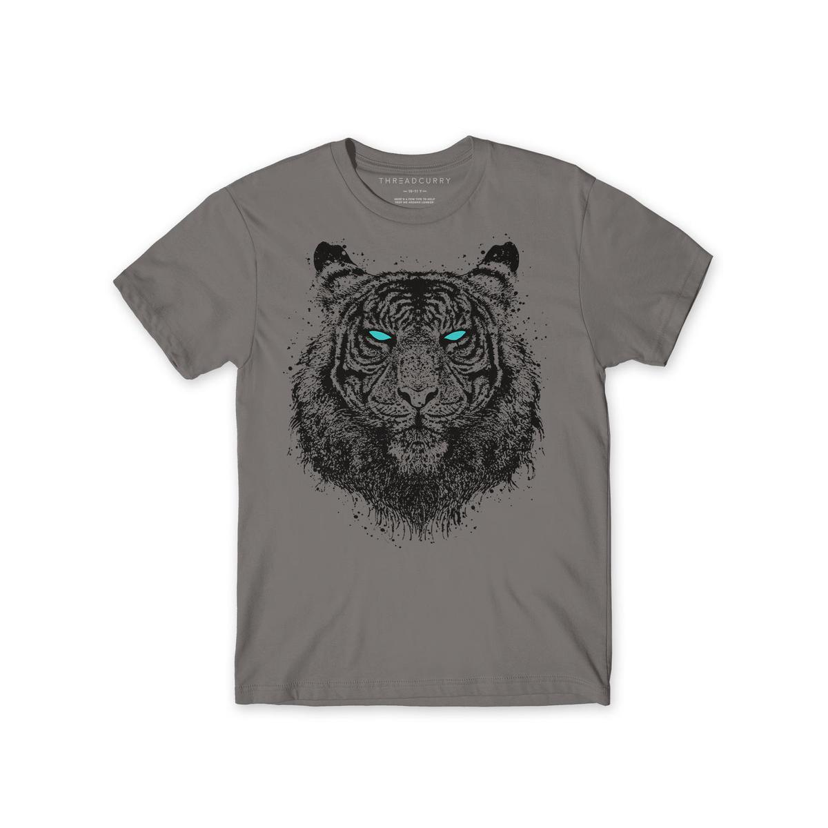 THREADCURRY - Grey Colored Pi - Richard Parker | Tiger Movie Adventure Neon Graphic Printed T-shirt for Boys
