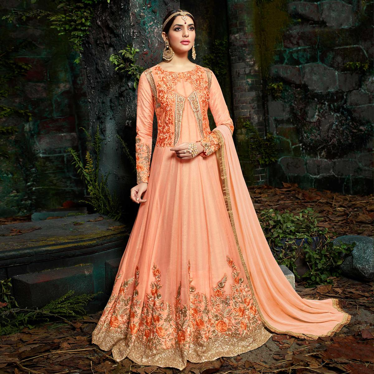 Elegant Peach Pure Georgette Designer Anarkali Suit