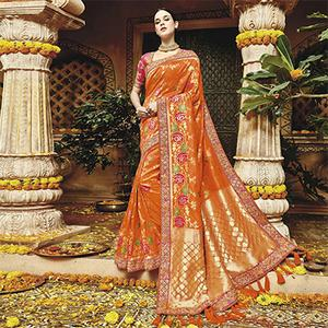 Beautiful Orange Silk Jacquard Designer Embroidered Saree
