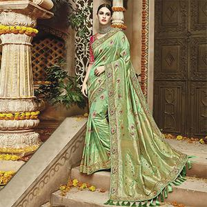 Stunning Green Silk Jacquard Designer Embroidered Saree