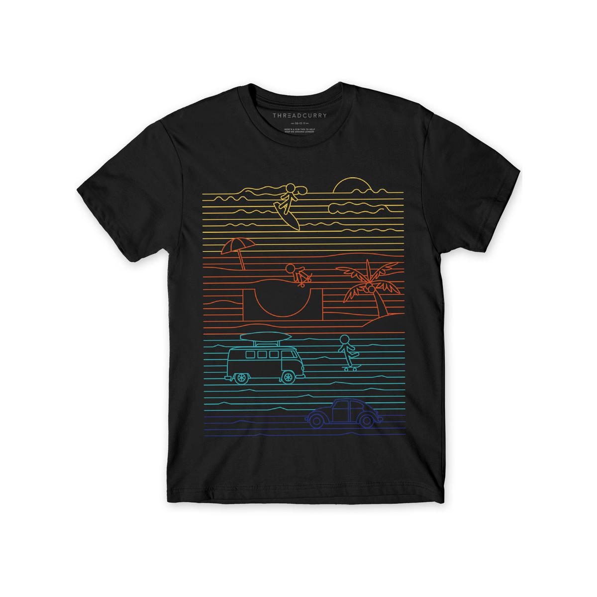 THREADCURRY - Black Colored Summer Lines   Holiday Summer Beach Travel Cotton Graphic Printed T-shirt for Boys