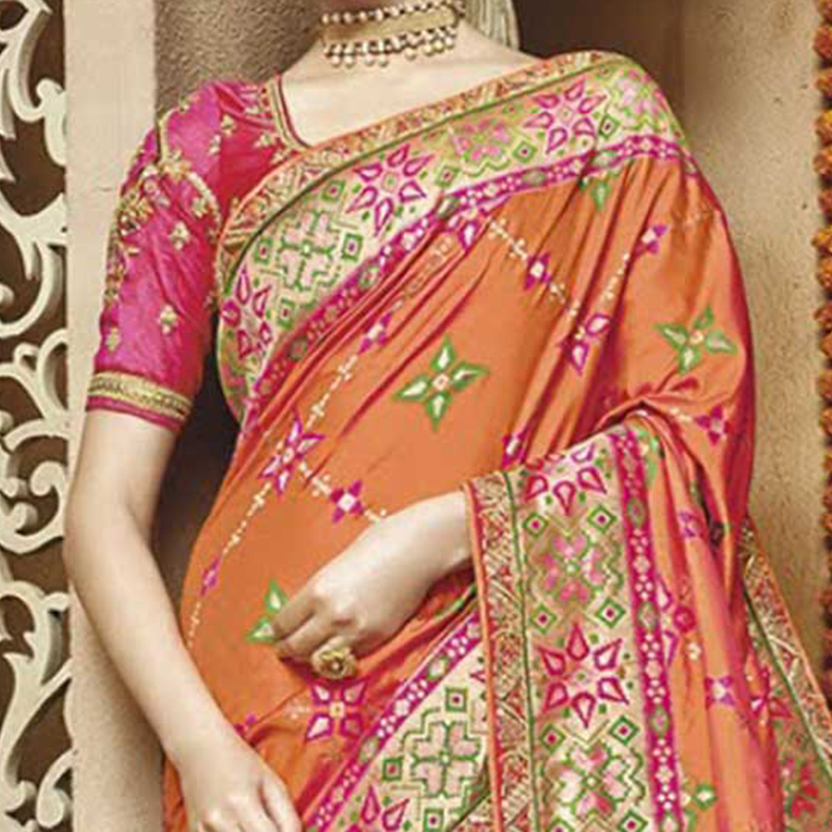 Glamorous Orange Silk Jacquard Designer Embroidered Saree