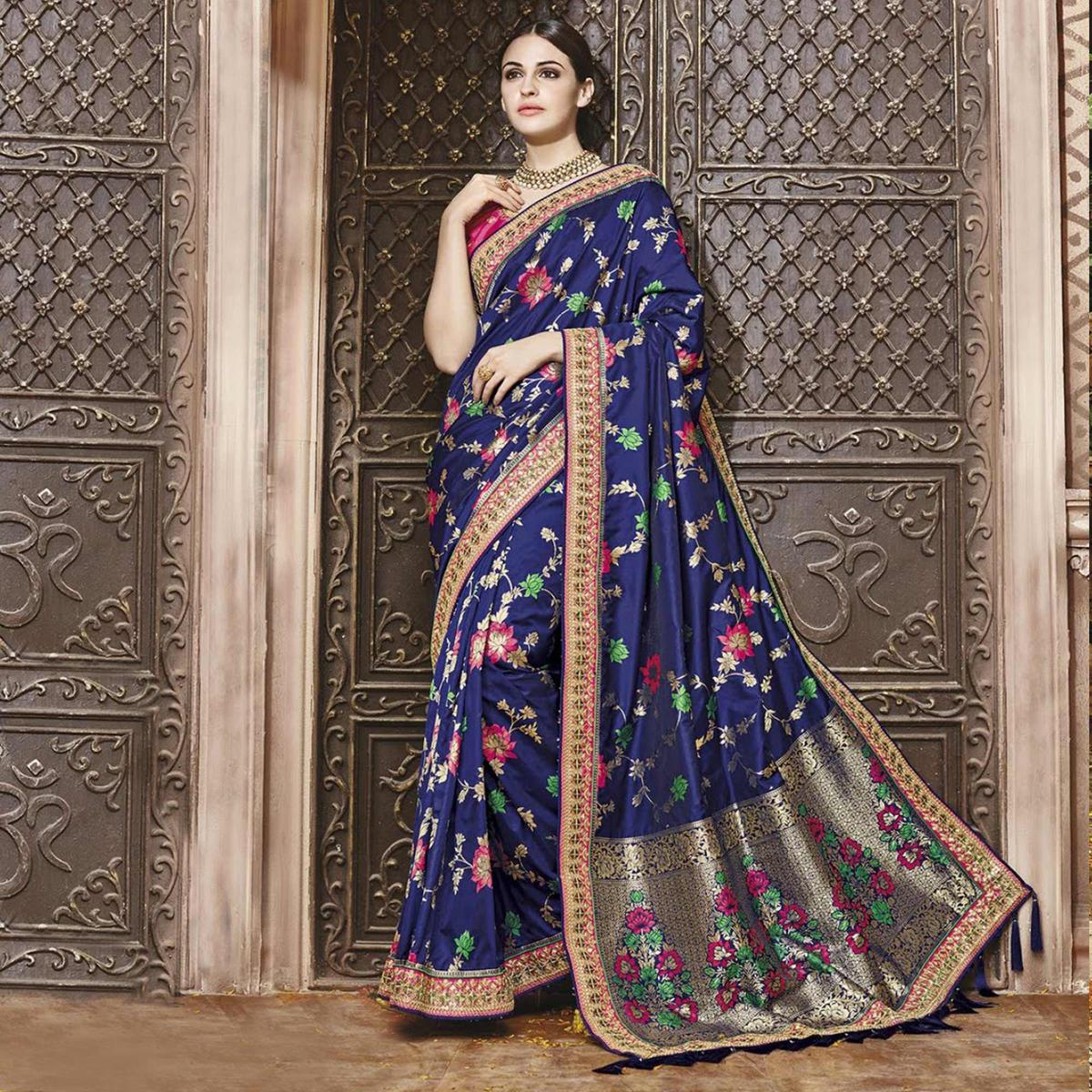Snazzy Blue Silk Jacquard Designer Embroidered Saree
