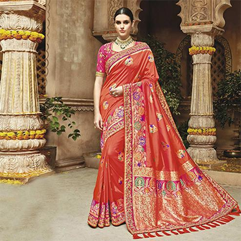 Attractive Gajri Colored Silk Jacquard Designer Embroidered Saree