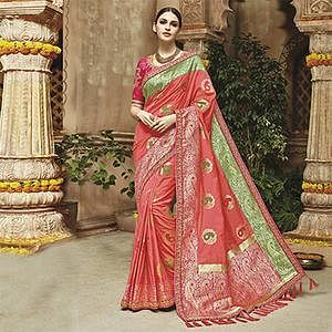Lovely Gajri Colored Silk Jacquard Designer Embroidered Saree
