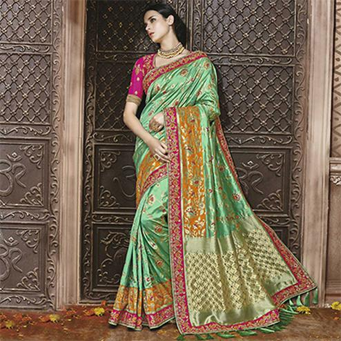 Regal Green Silk Jacquard Designer Embroidered Saree