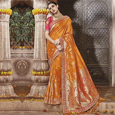 Delightful Orange Silk Jacquard Designer Embroidered Saree