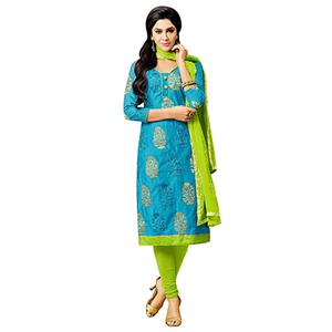 Blue - Parrot Green Embroidered Work Suit