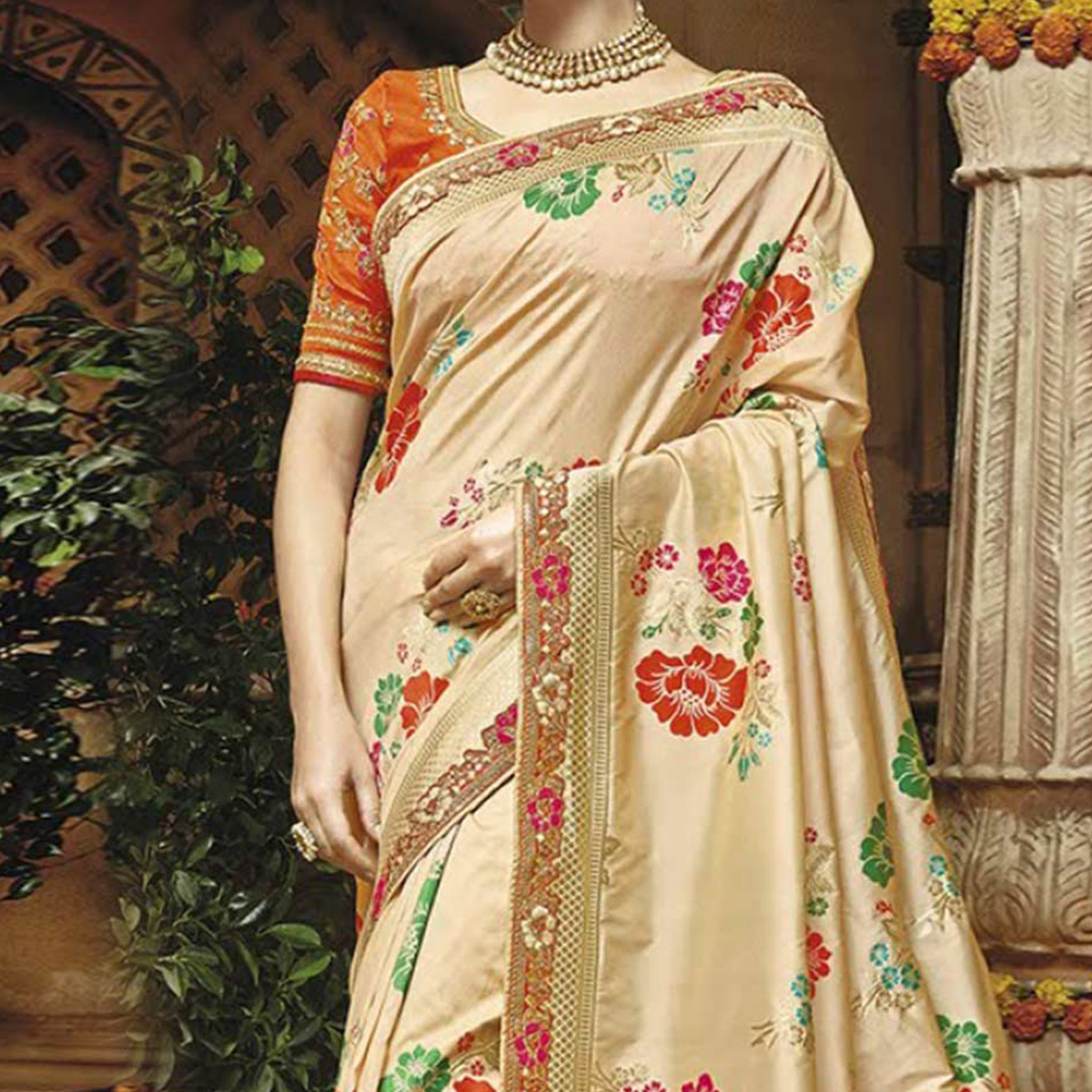 Elegant Cream Silk Jacquard Designer Embroidered Saree