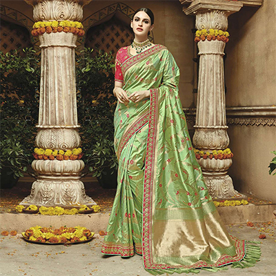 Splendid Green Silk Jacquard Designer Embroidered Saree