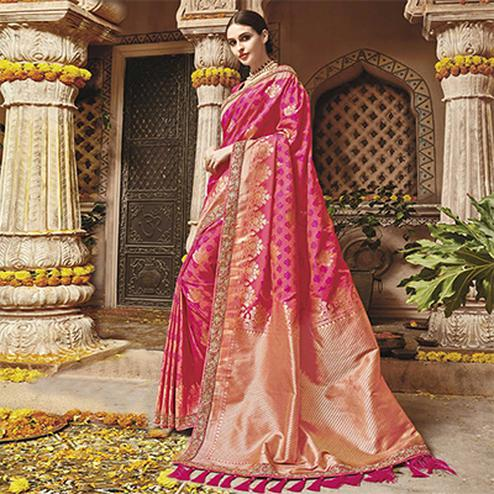 Glorious Pink Silk Jacquard Designer Embroidered Saree