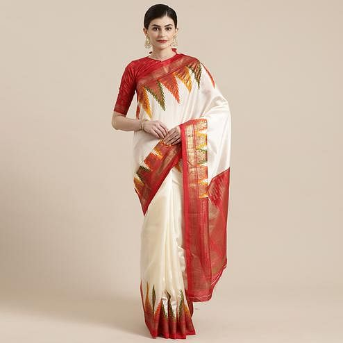 Blooming Cream-Red Colored Festive Wear Tample Foli Print Patola Silk Saree