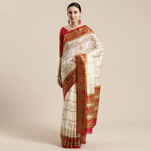 Charming Cream-Red Colored Festive Wear Cheked Foli Print Patola Silk Saree