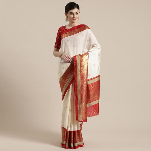 Jazzy Cream-Red Colored Festive Wear Paisely Foli Print Patola Silk Saree