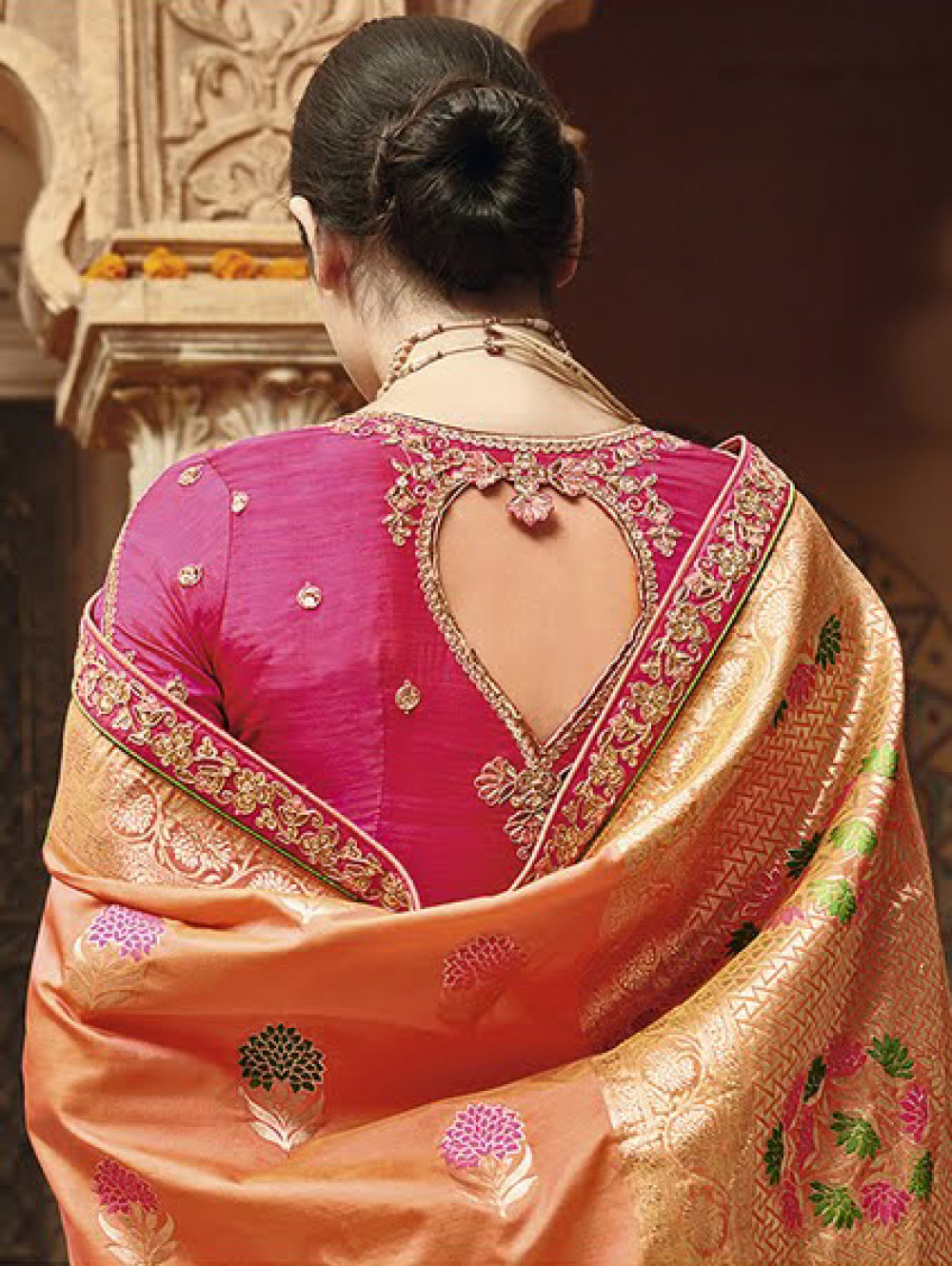 Marvellous Orange Silk Jacquard Designer Embroidered Saree