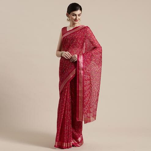 Delightful Red Colored Casual Wear Floral Printed Cotton Silk Saree