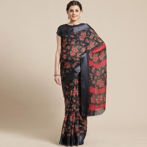 Engrossing Black Colored Casual Wear Floral Printed Cotton Silk Saree