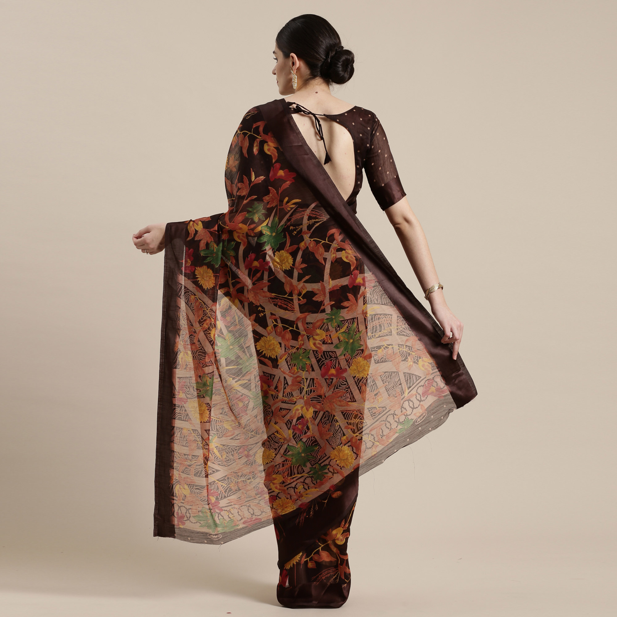Captivating Brown Colored Casual Wear Floral Printed Cotton Silk Saree