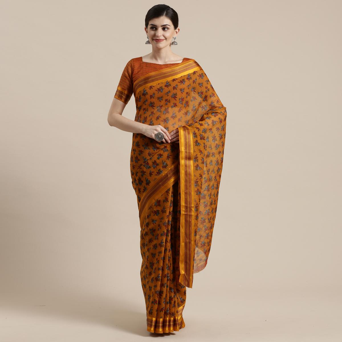 Innovative Mustard Yellow Colored Casual Wear Floral Printed Cotton Silk Saree