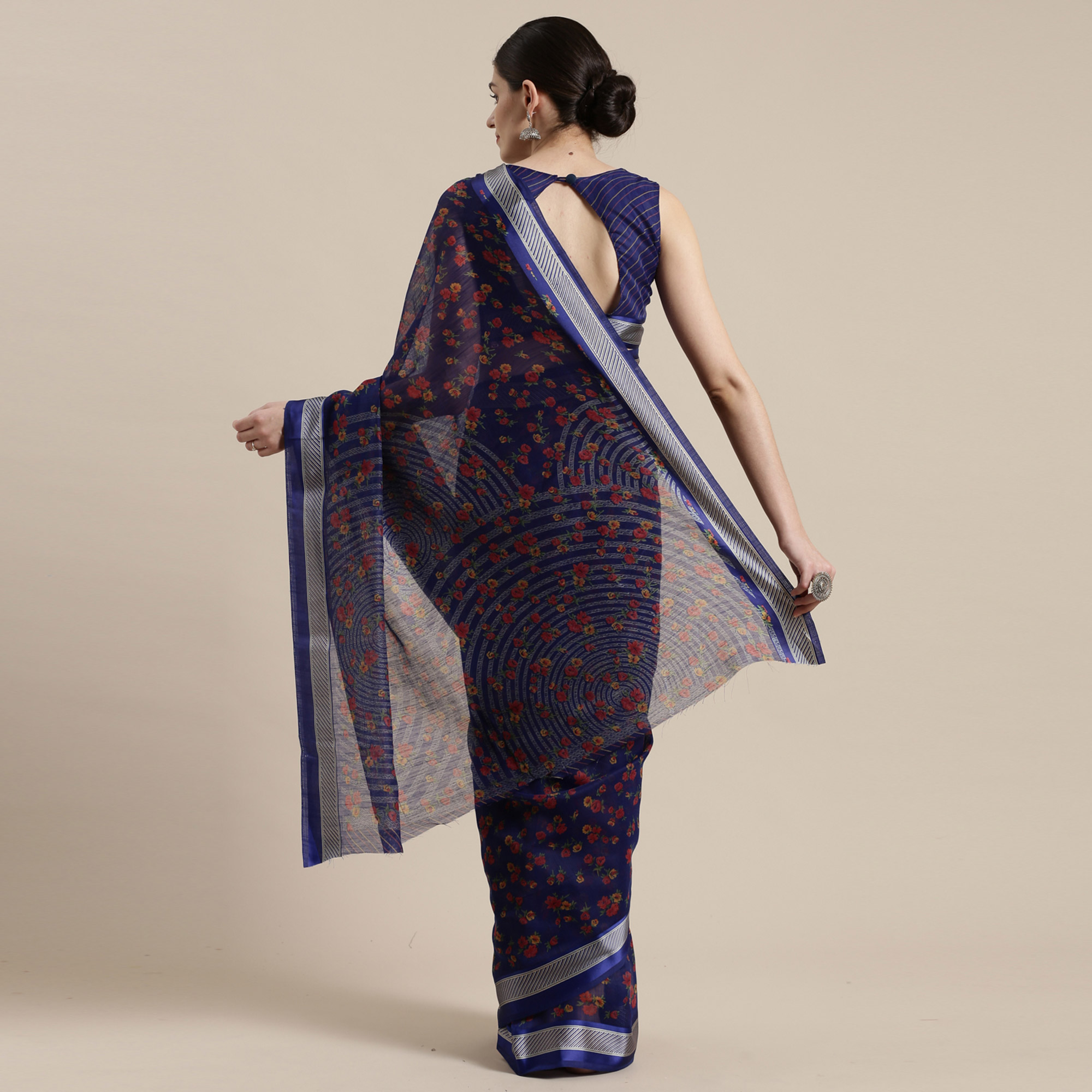 Eye-catching Blue Colored Casual Wear Floral Printed Cotton Silk Saree
