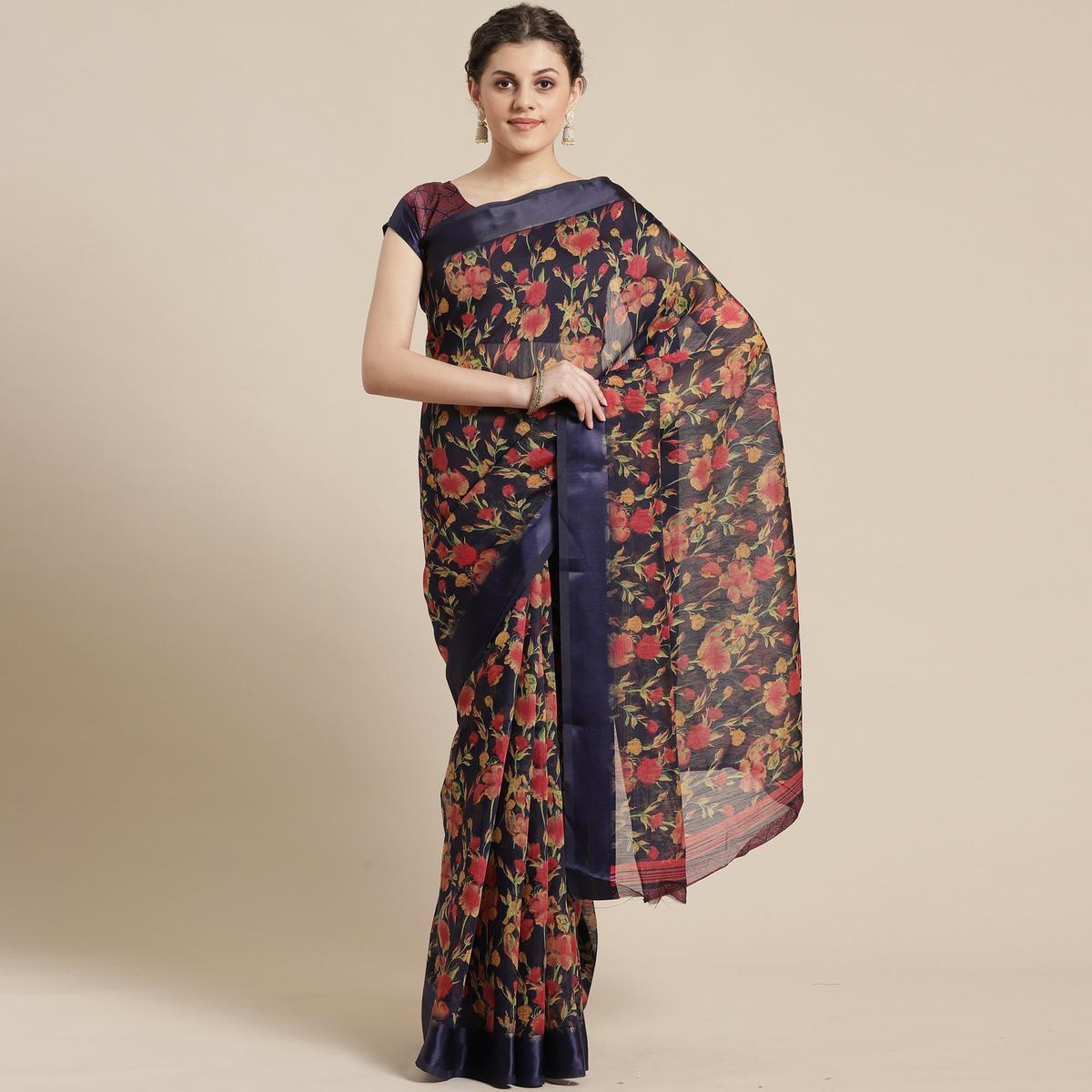 Fantastic Blue Colored Casual Wear Floral Printed Cotton Silk Saree