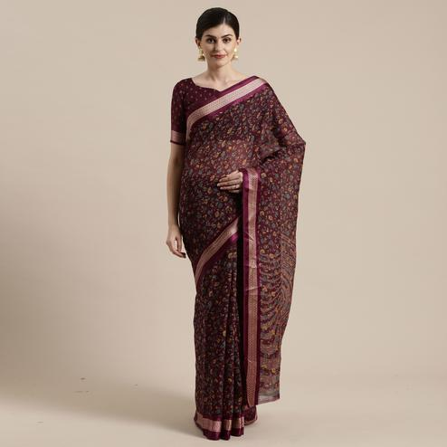 Amazing Wine Colored Casual Wear Floral Printed Cotton Silk Saree