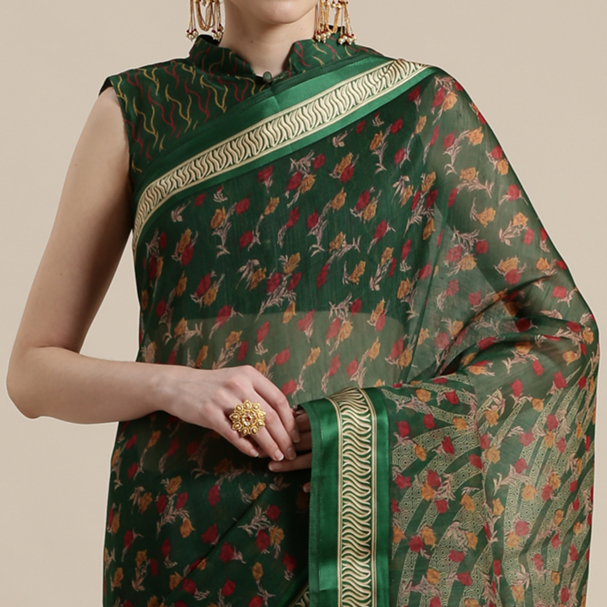 Gorgeous Green Colored Casual Wear Floral Printed Cotton Silk Saree