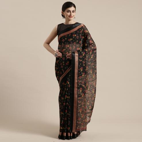 Blissful Black Colored Casual Wear Floral Printed Cotton Silk Saree