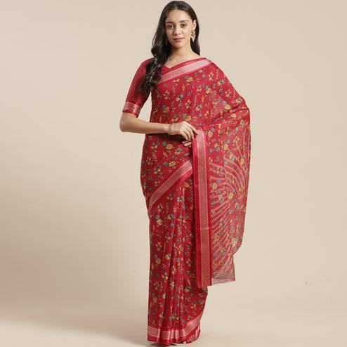 Ideal Red Colored Casual Wear Floral Printed Cotton Silk Saree