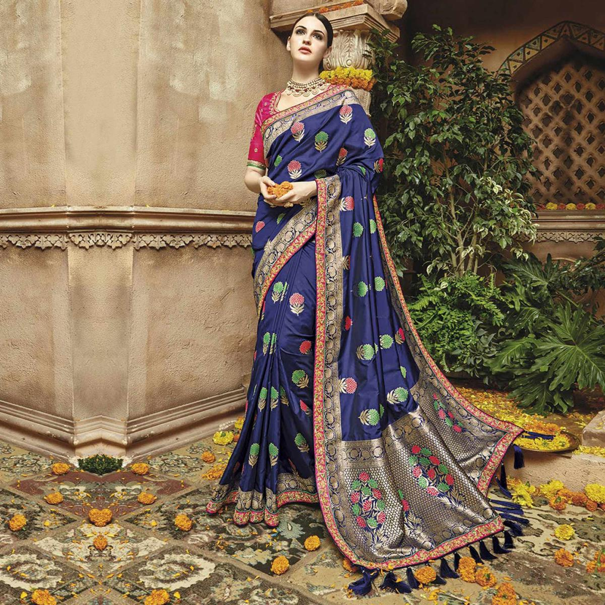 Royal Blue Silk Jacquard Designer Embroidered Saree