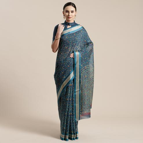 Imposing Turquoise Colored Casual Wear Floral Printed Cotton Silk Saree