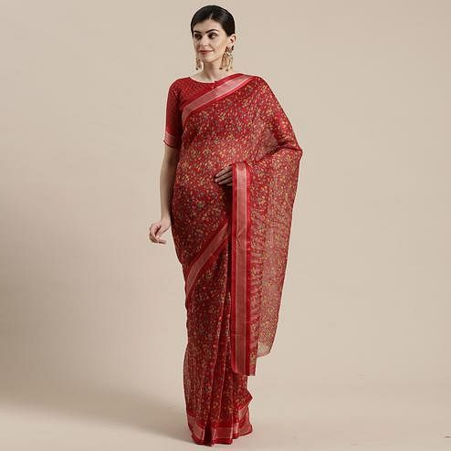 Lovely Maroon Colored Casual Wear Floral Printed Cotton Silk Saree