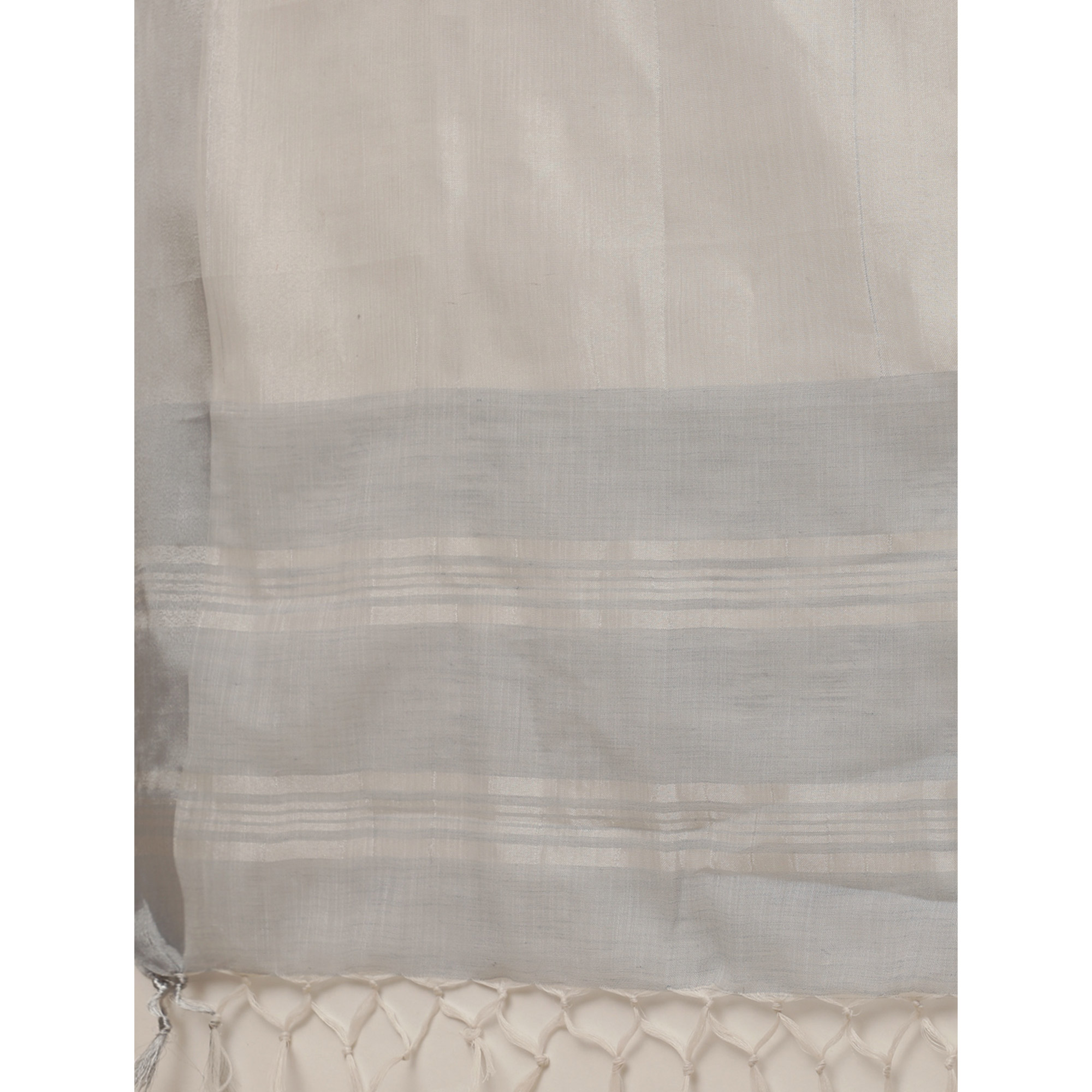 Intricate Grey Colored Festive Wear Floral Embroidered Linen Blend Saree With Tassels