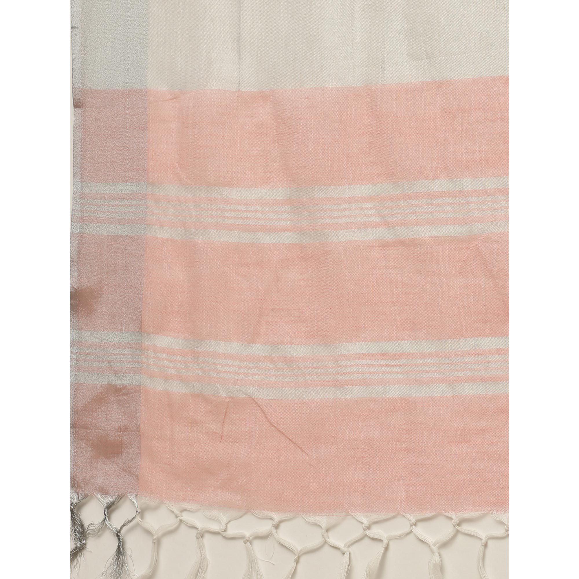 Arresting Peach Colored Festive Wear Floral Embroidered Linen Blend Saree With Tassels