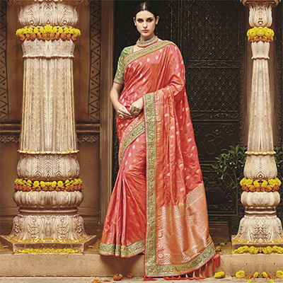 Wonderful Dark Peach Silk Jacquard Designer Embroidered Saree