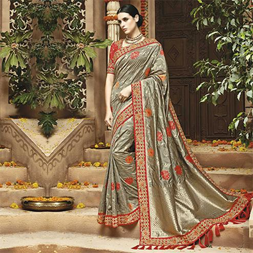 Spectacular Gray Silk Jacquard Designer Embroidered Saree