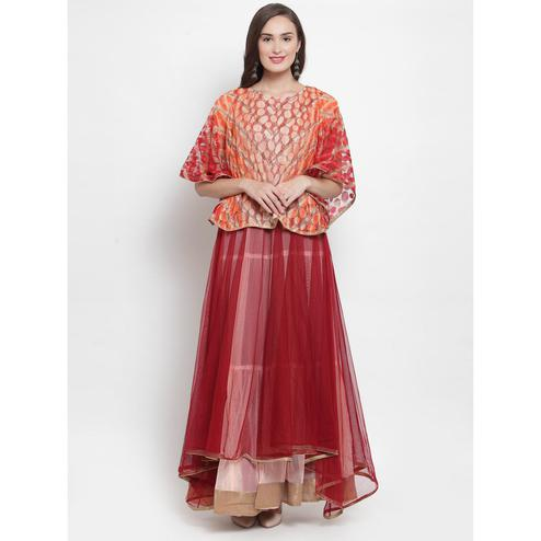 Aujjessa - Maroon-Peach Colored Partywear Netted Tiered Cape Gown