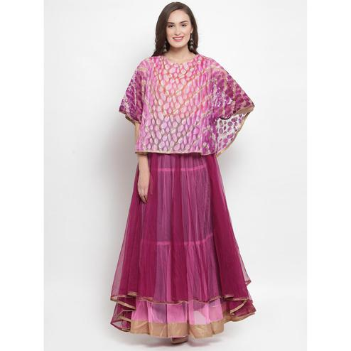 Aujjessa - Purple-Pink Colored Partywear Netted Tiered Cape Gown