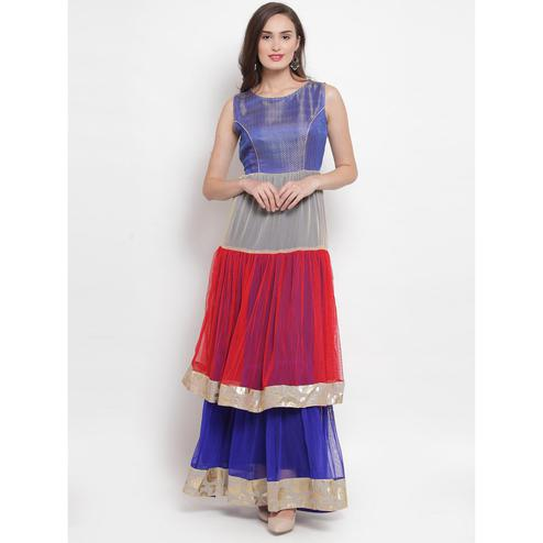 Aujjessa - Blue-Multi Colored Partywear Netted Double Tiered Flared Gown